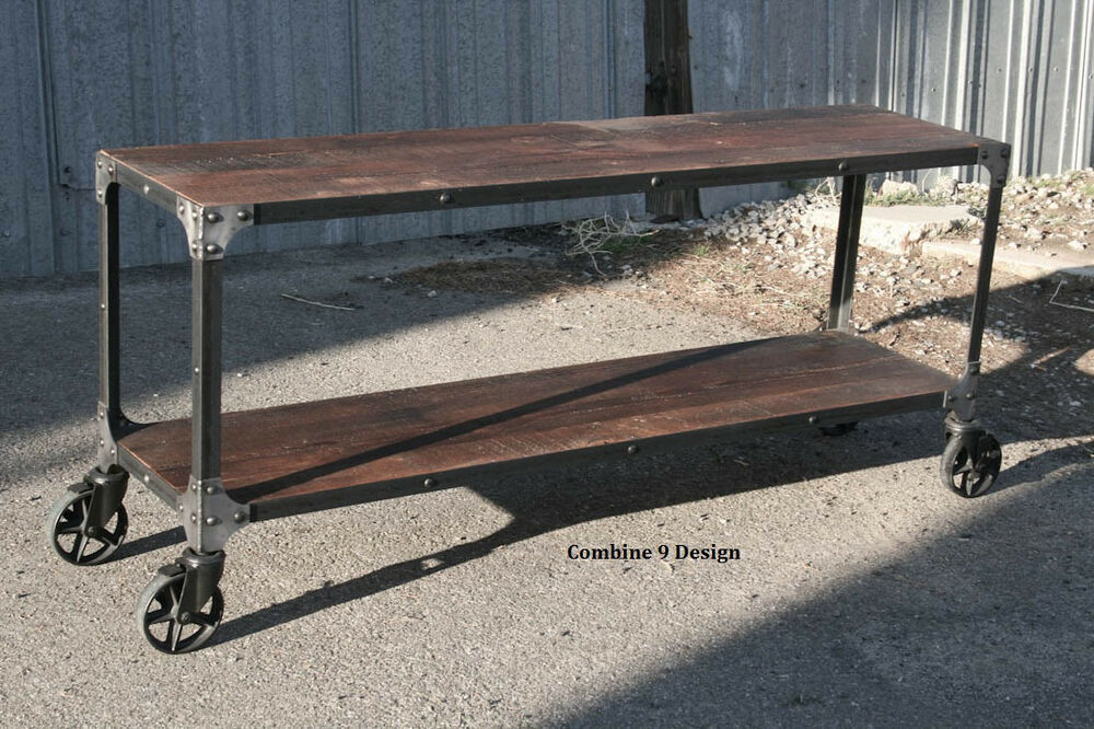 Vintage industrial console sofa table urban modern for Agencement de stand