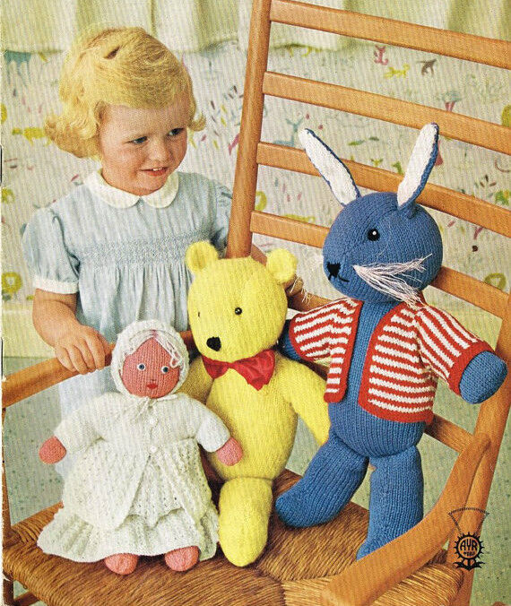 Knitting Patterns For Dolls And Teddy Bears : doll / teddy bear and rabbit dk toy knitting pattern 99p eBay