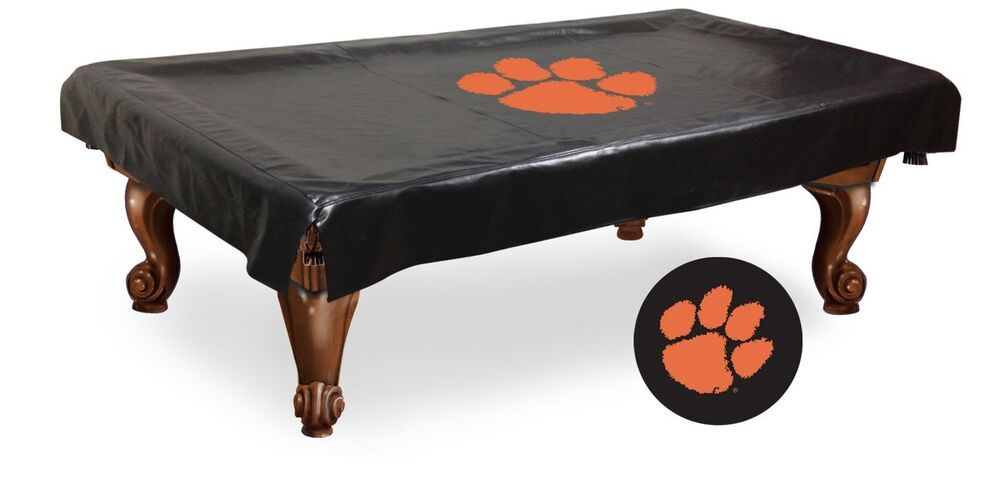 Clemson Pool Table Cover W/ Tigers Logo - Black Vinyl