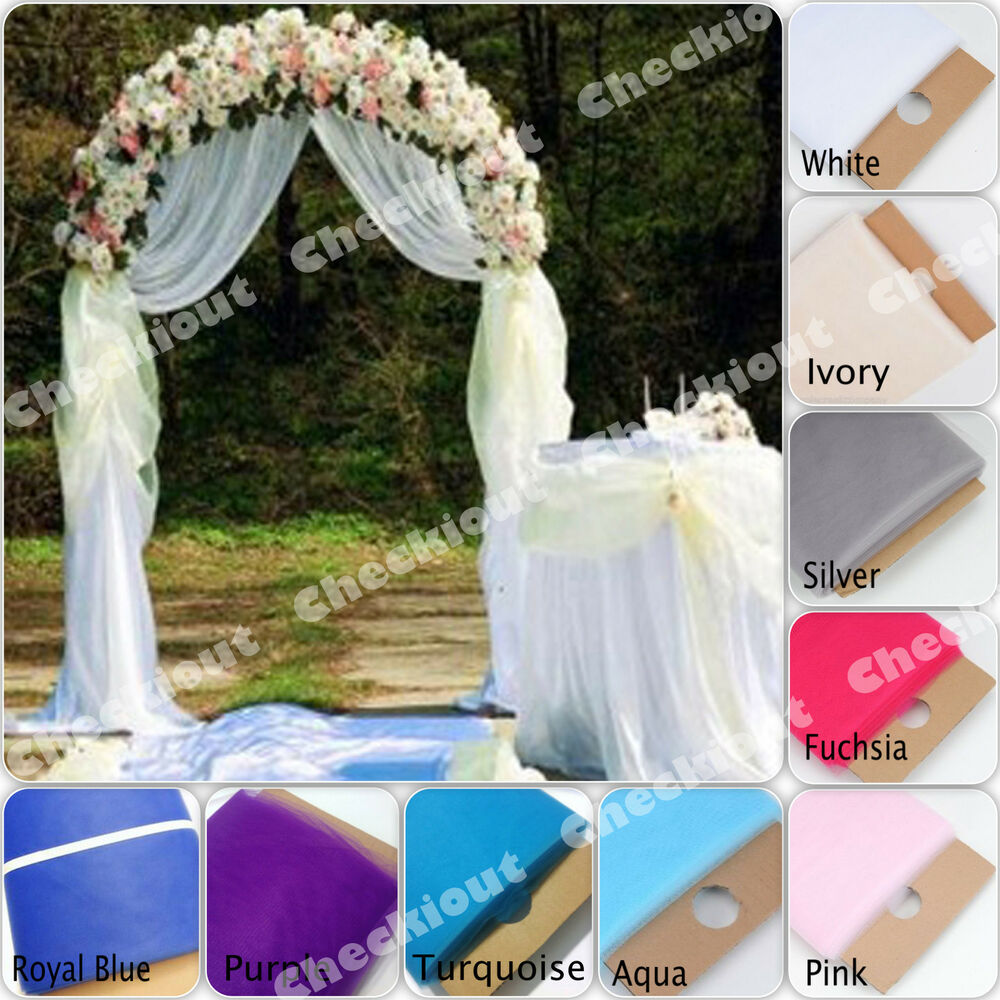 90 white metal arch 54 x40 yards tulle wedding party for Archway decoration ideas