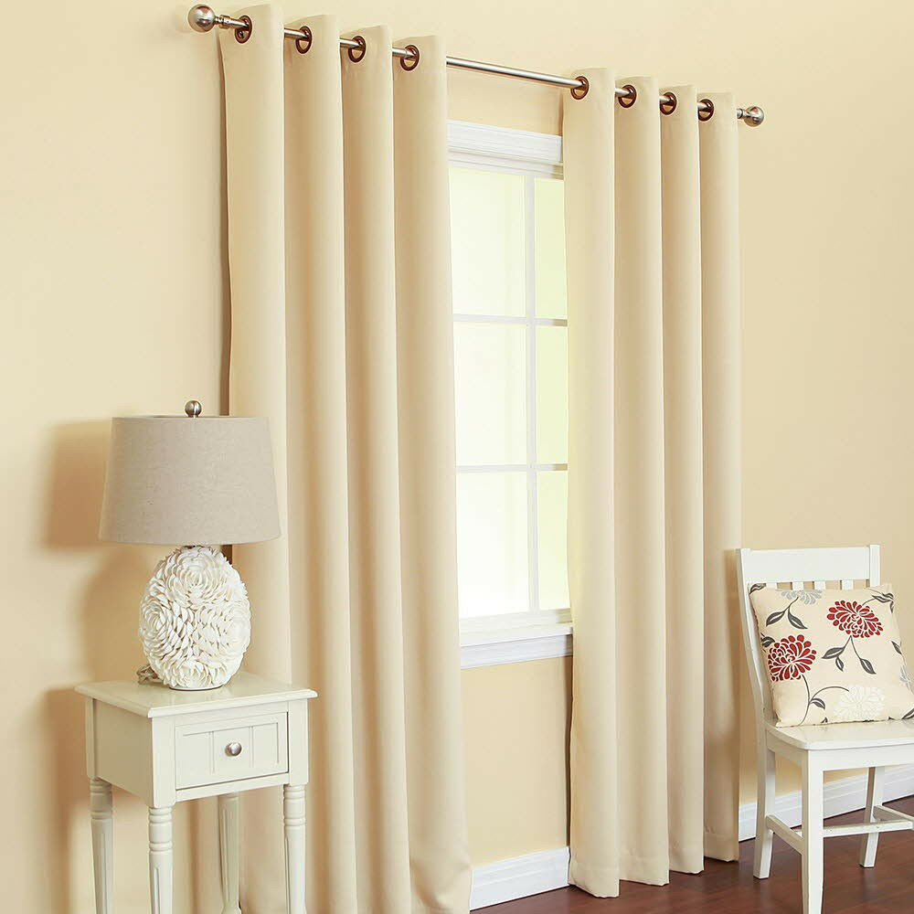 2 heavy faux silk panels blackout beige grommet window Beige curtains