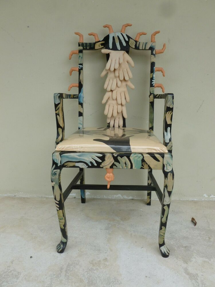 wild surrealist hand and finger art chair in the manner of pedro friedeberg ebay. Black Bedroom Furniture Sets. Home Design Ideas