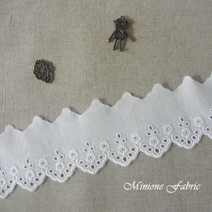 Yards embroidered cotton fabric eyelet lace trim cm