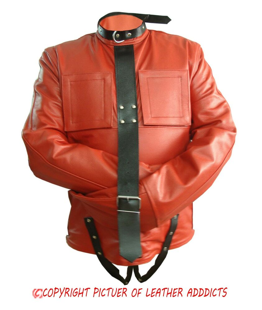 Mens Red Black Real Leather Bondage Strait Jacket Gay Fetish ...