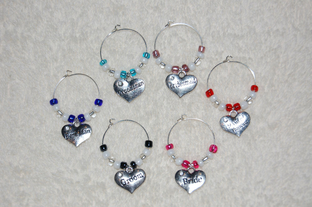 wedding bridal wine glass charms favors rehearsal