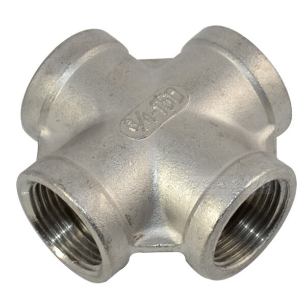 Quot threaded way female cross coupling connector ss