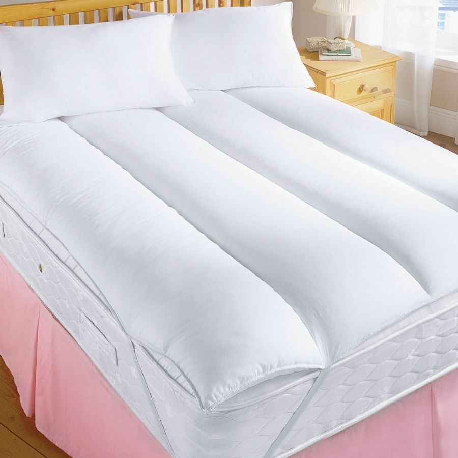 hollowfibre 2 thick mattress topper reviver enhancer elasticated corners ss ebay. Black Bedroom Furniture Sets. Home Design Ideas