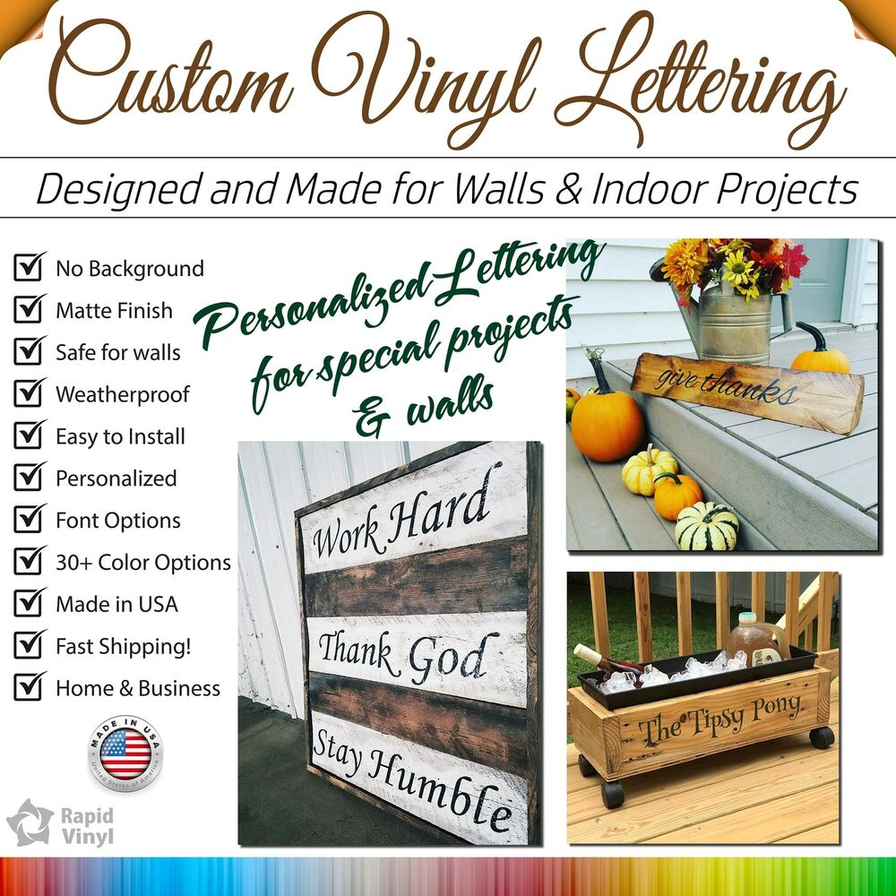 Details about custom vinyl decal sticker window lettering personalized wall name text stickers