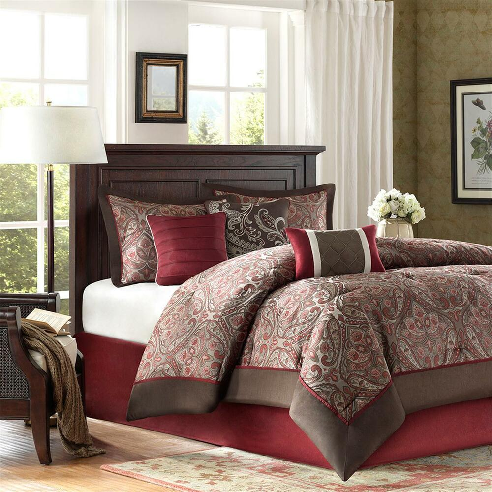 Bedding Decor: BEAUTIFUL RICH ELEGANT BURGUNDY RED BROWN IVORY WHITE