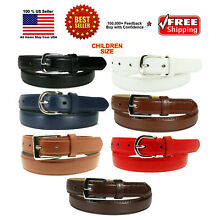 KIDS CHILDREN STITCHED LEATHER BELT Silver Belt Buckle Boys Girls S M L XL