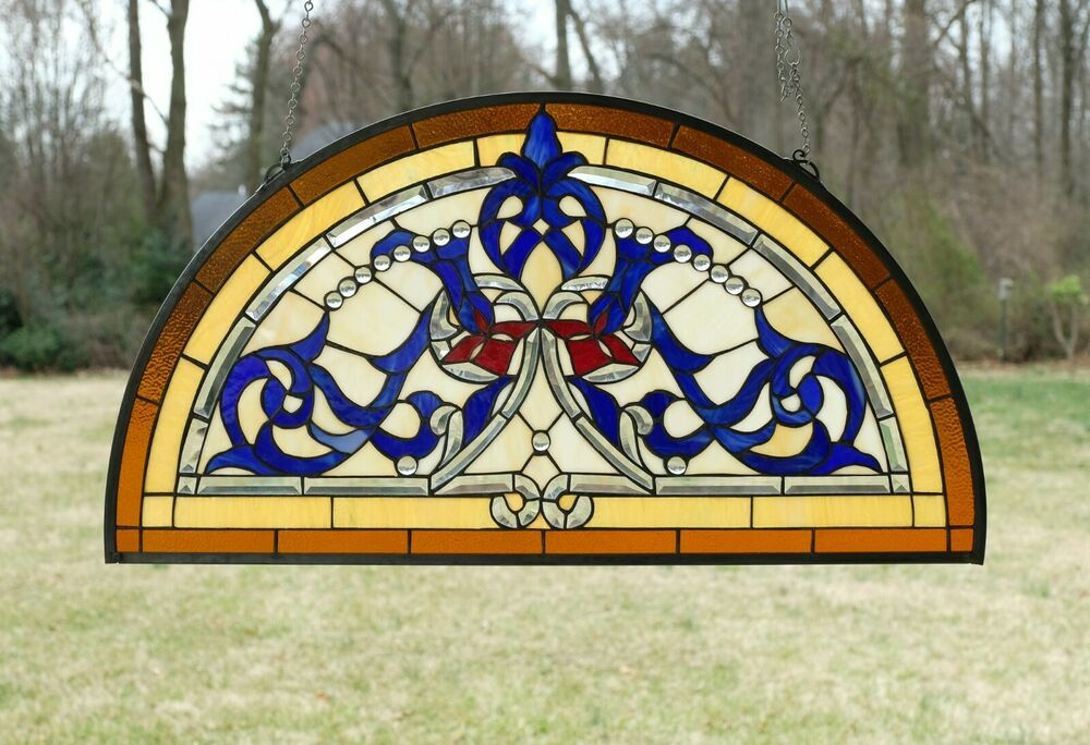 Tiffany style stained glass window panel half round for 18 x 18 window