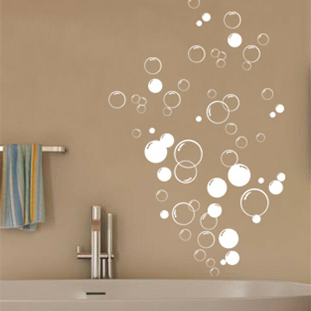 90x bubbles bathroom vinyl wall stickers shower door for Sticker miroir salle de bain