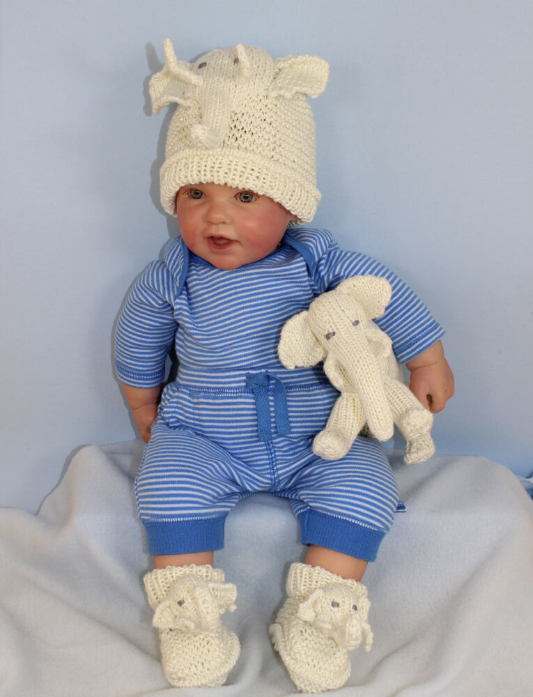 Knitting Instructions Baby Elephant Toy Beanie Hat Booties