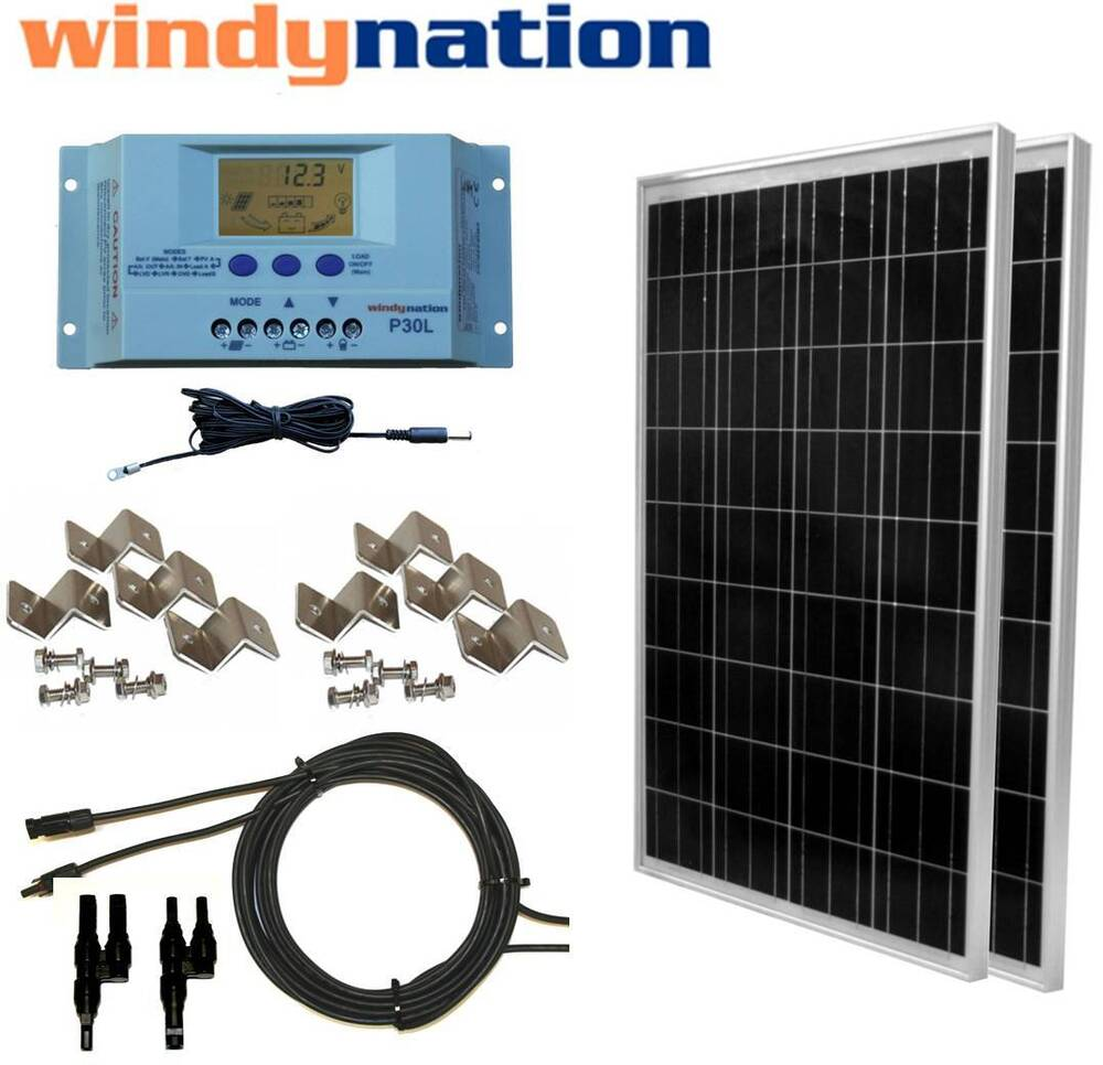 200 Watt 200w Solar Panel Kit With Lcd Solar Controller 12
