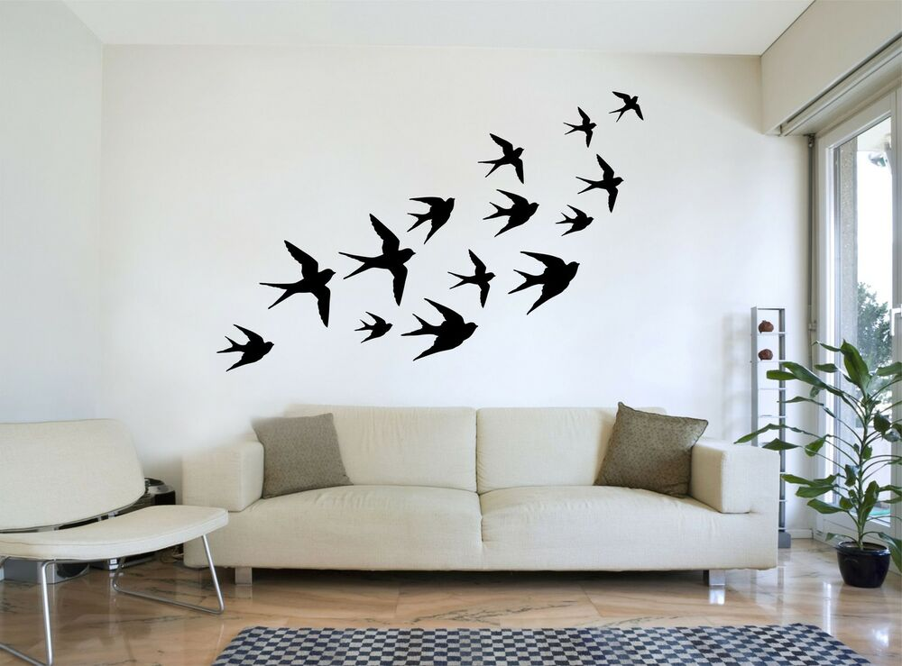 FLYING SWALLOWS Flock Of Birds Silhouette Wall Art, Decal