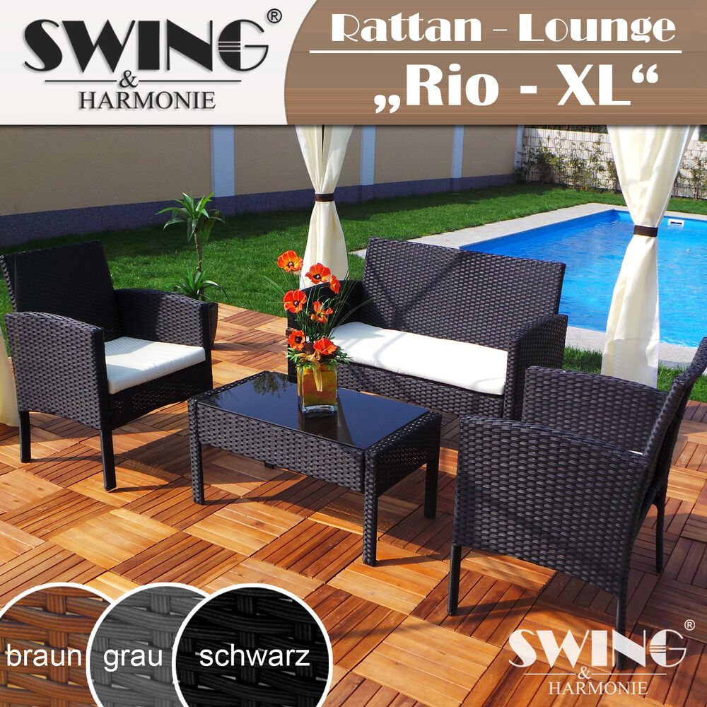 poly rattan lounge sitzgruppe rattan sofa sitzgarnitur tisch stuhl gartenm bel ebay. Black Bedroom Furniture Sets. Home Design Ideas