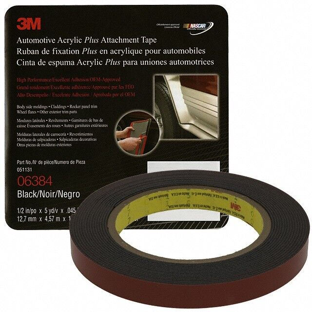 3m 06384 double sided tape automotive 1 2 x 15 39 black 6384 ebay. Black Bedroom Furniture Sets. Home Design Ideas