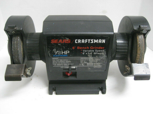 Craftsman 1 3 Hp Variable Speed 6 Bench Grinder Buffer Vtg Block Ebay