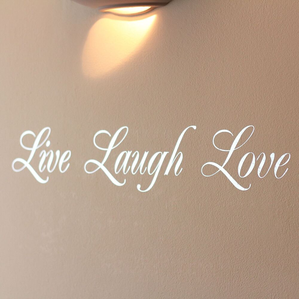 Mirror silver live laugh love wall art sticker ebay for Live laugh love wall art