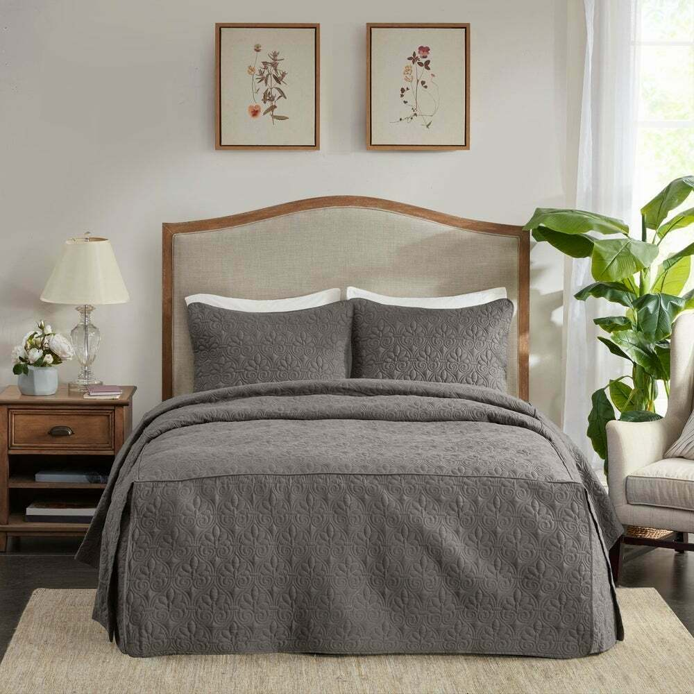 beautiful 7pc modern elegant brown gold silver white grey scroll comforter set ebay. Black Bedroom Furniture Sets. Home Design Ideas