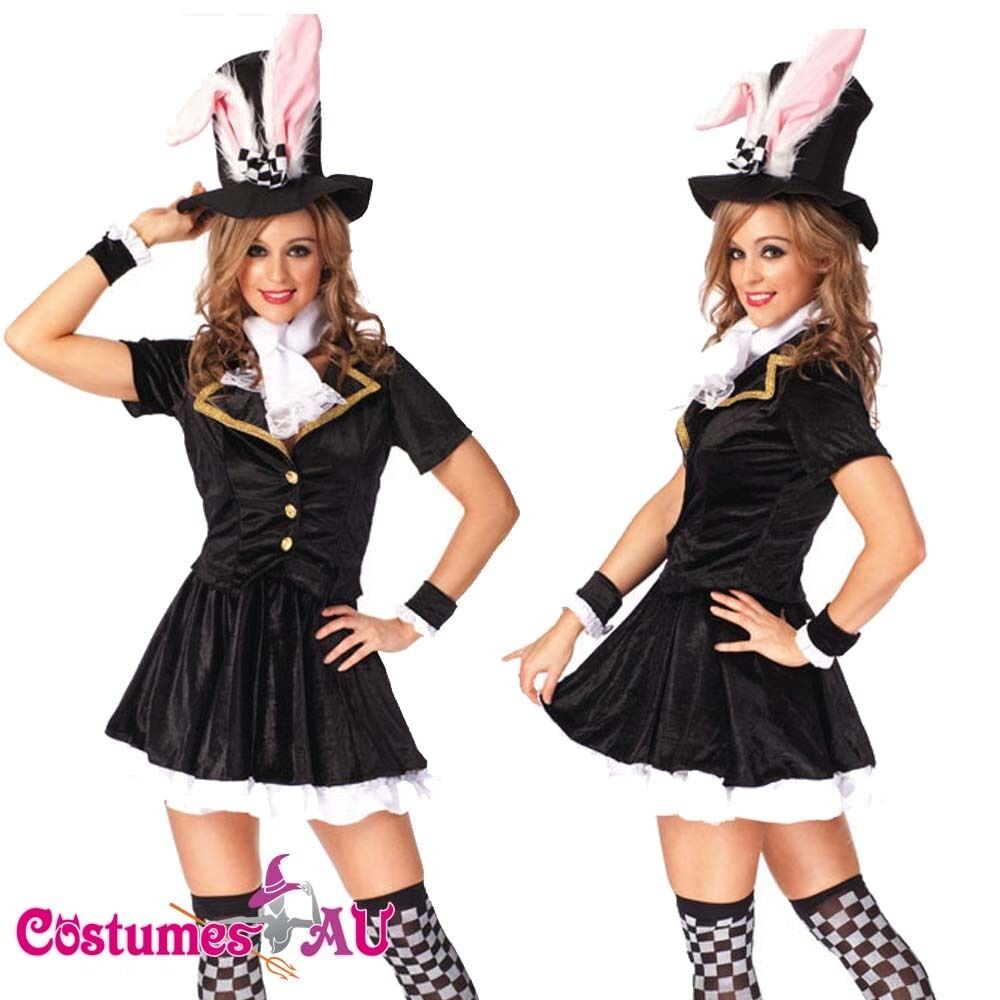 Ladies Black Easter Bunny Rabbit Costume Fancy Dress Hens