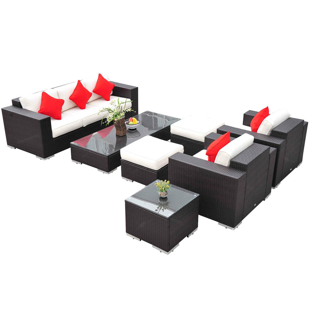 Deluxe 7pc outdoor rattan wicker sectional patio furniture for Sofas rattan exterior baratos