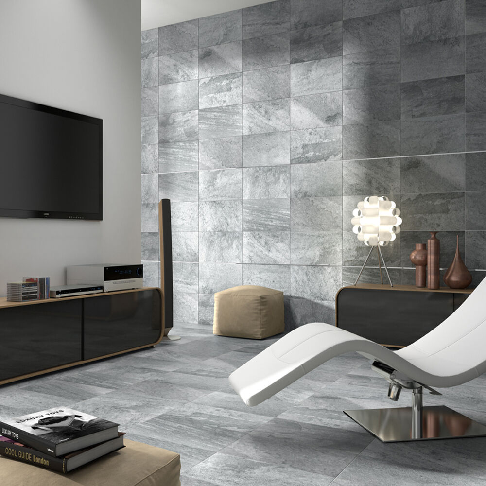 matt grey stone effect ceramic kitchen bathroom wall and floor tiles ebay. Black Bedroom Furniture Sets. Home Design Ideas