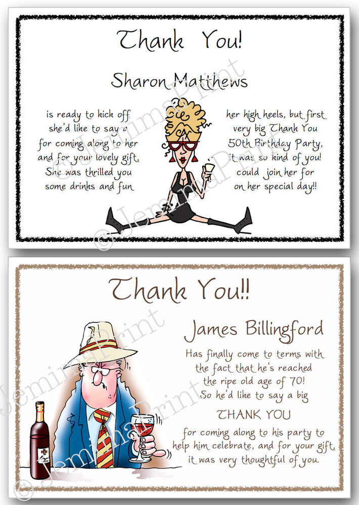 Details About Personalised Birthday Thank You Cards 30th 40th 50th 60th 65th 70th 80th X10 J17