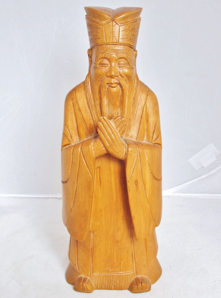 Vintage chinese hand carved boxwood wood official or
