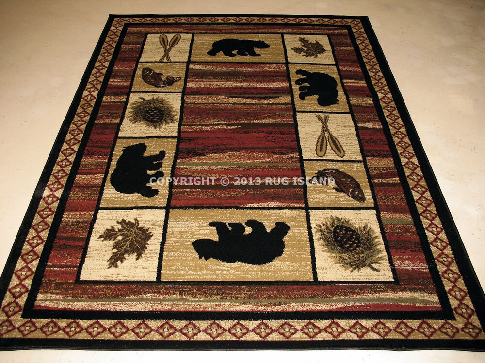 Lodge Cabin Rustic Bear Pine Fish Area Rug Free Shipping