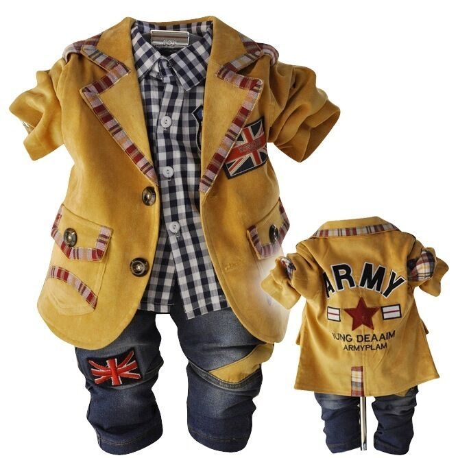Toddler Boy 3 PC Outfit Set Party Casual Suit Size1-3 Years Jacket+shirt+ Jeansuff01 | EBay