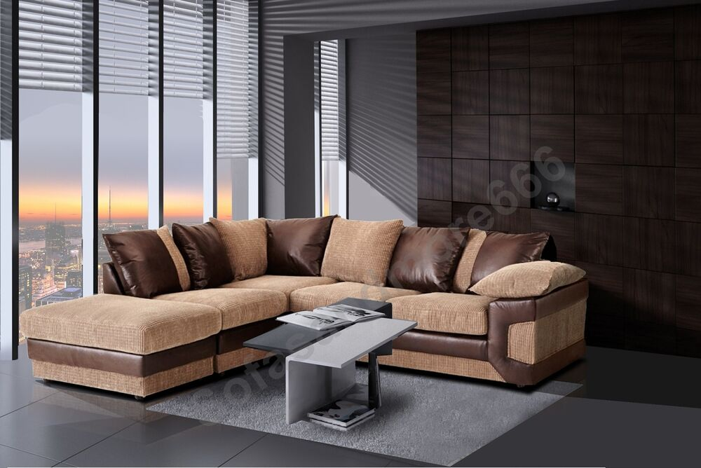 dino fabric corner sofa or 2 3 seater brown grey jumbo. Black Bedroom Furniture Sets. Home Design Ideas