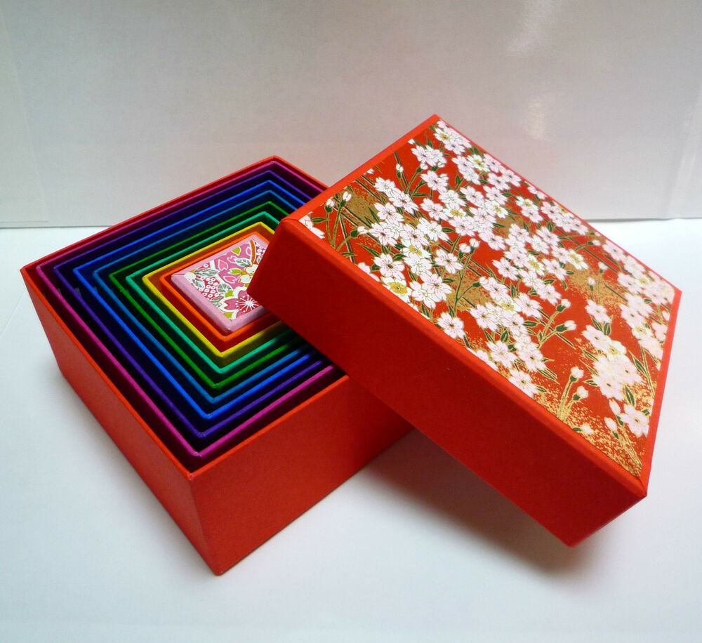 japanese origami washi 9 boxes within 1 box matryoshka box ebay. Black Bedroom Furniture Sets. Home Design Ideas
