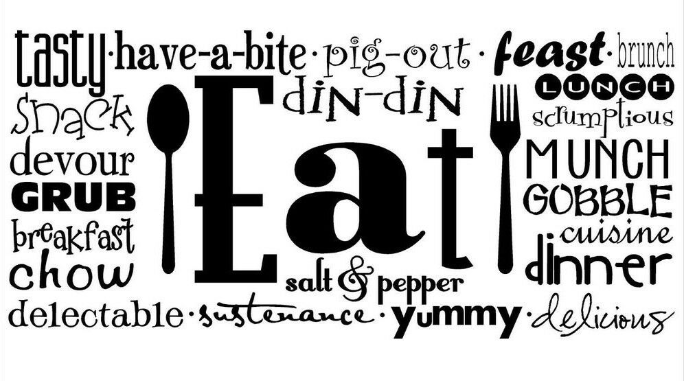EAT COLLAGE Kitchen Dining Room Wall Art Decal Quote Words