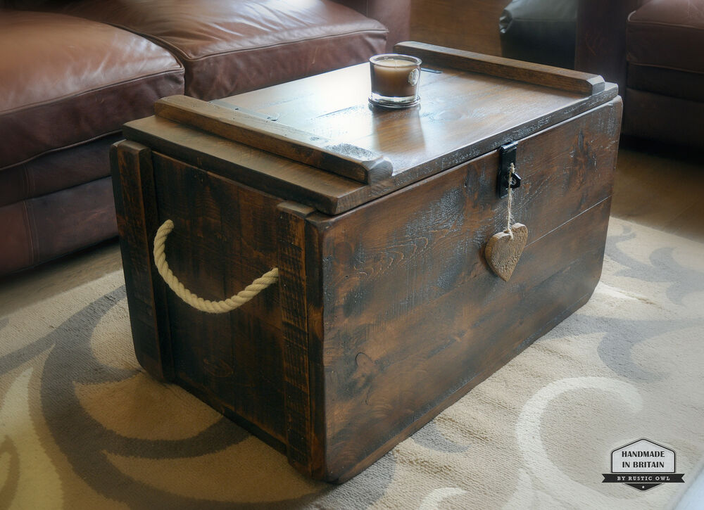 Rustic waxed pine wooden blanket box storage chest trunk coffee table ottoman ebay Coffee table chest with storage
