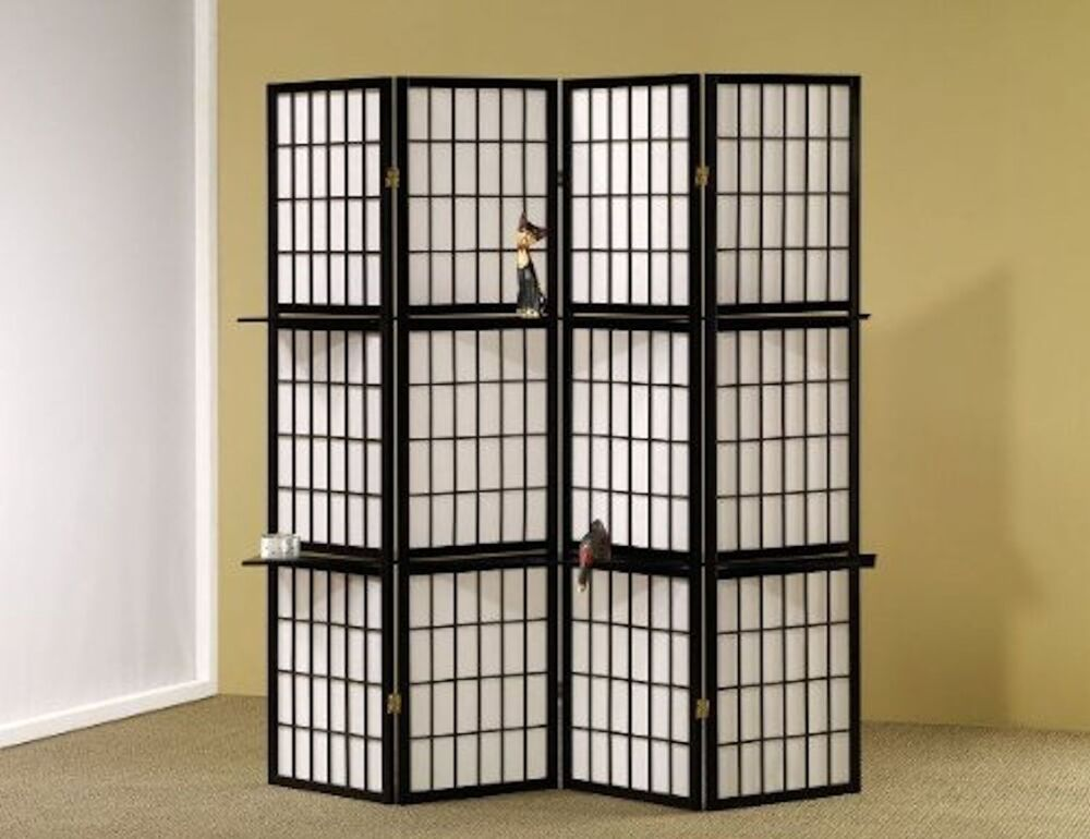 4 panel room divider privacy shoji screen divider with for Photo screen room dividers