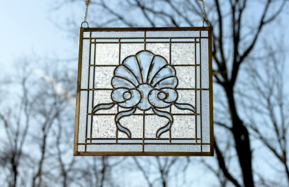 16 x 16 tiffany style stained glass clear beveled window for 16 window