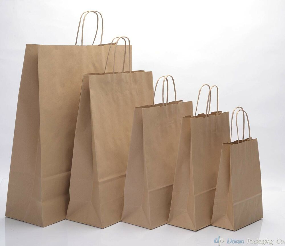 Brown twist handle paper party and gift carrier bag bags for Brown paper craft bags