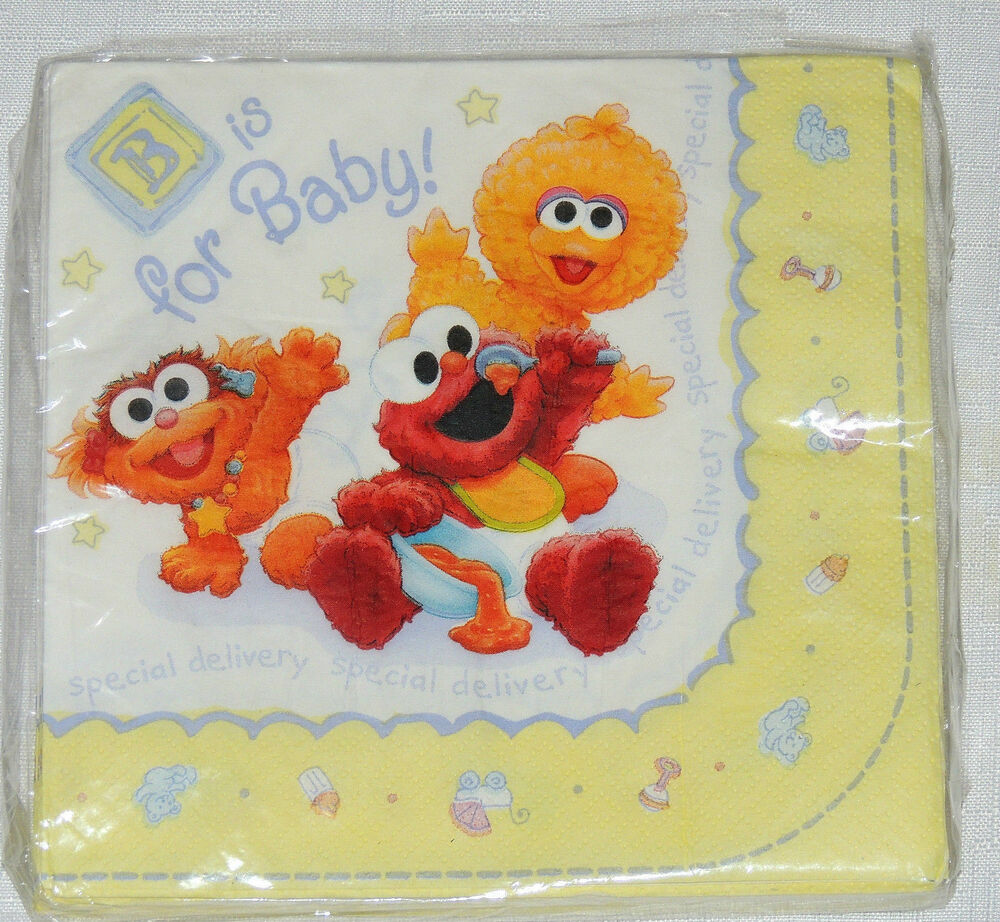 New sesame street beginnings baby shower 16 lunch napkins party supplies ebay - Sesame street baby shower ...
