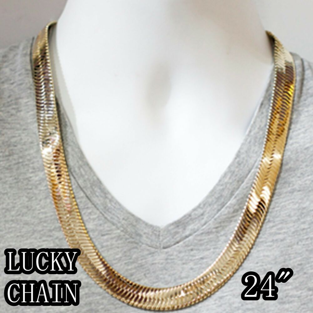 14K GOLD PLATED HIPHOP HERRINGBONE CHAIN NECKLACE(JUMBO