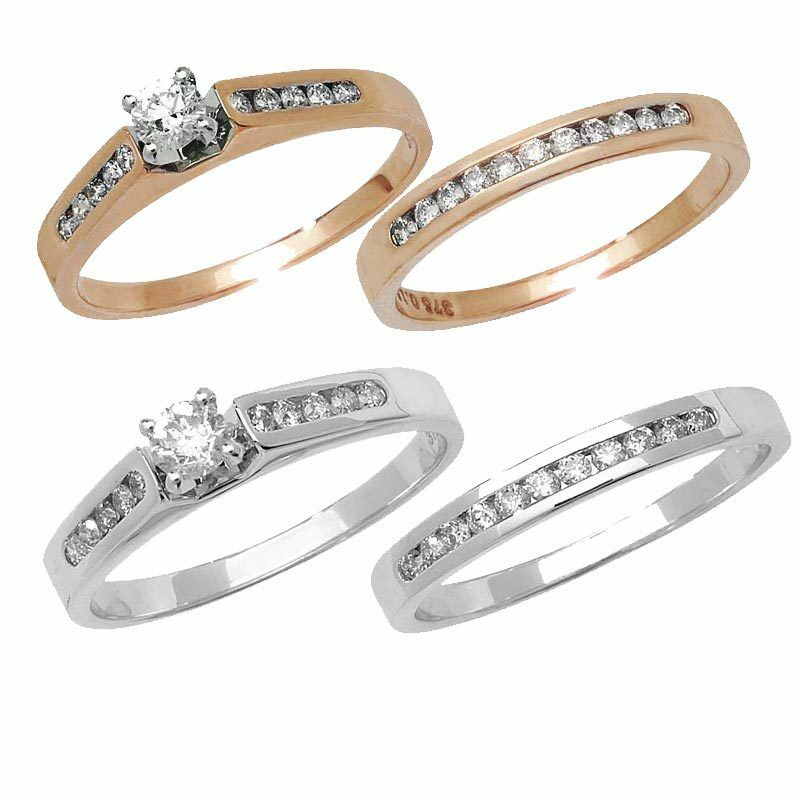 Diamond engagement wedding bands bridal sets in 9ct for 9ct gold wedding ring sets