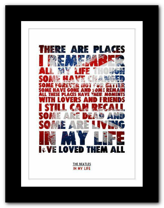 THE BEATLES - In My Life song lyrics typography poster art ...