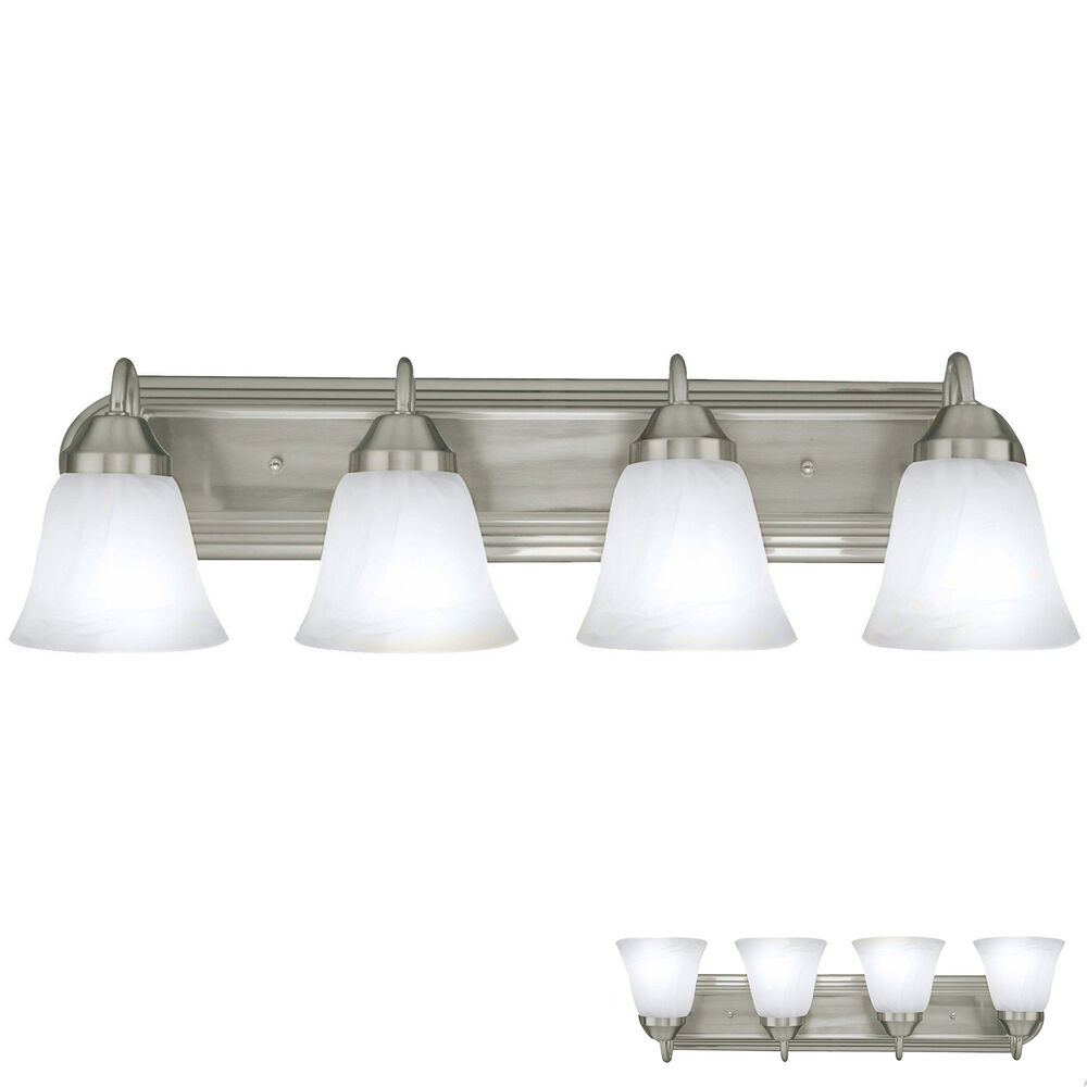 Brushed Nickel Four Globe Bathroom Vanity Light Bar Bath Fixture Alabaster Glass eBay