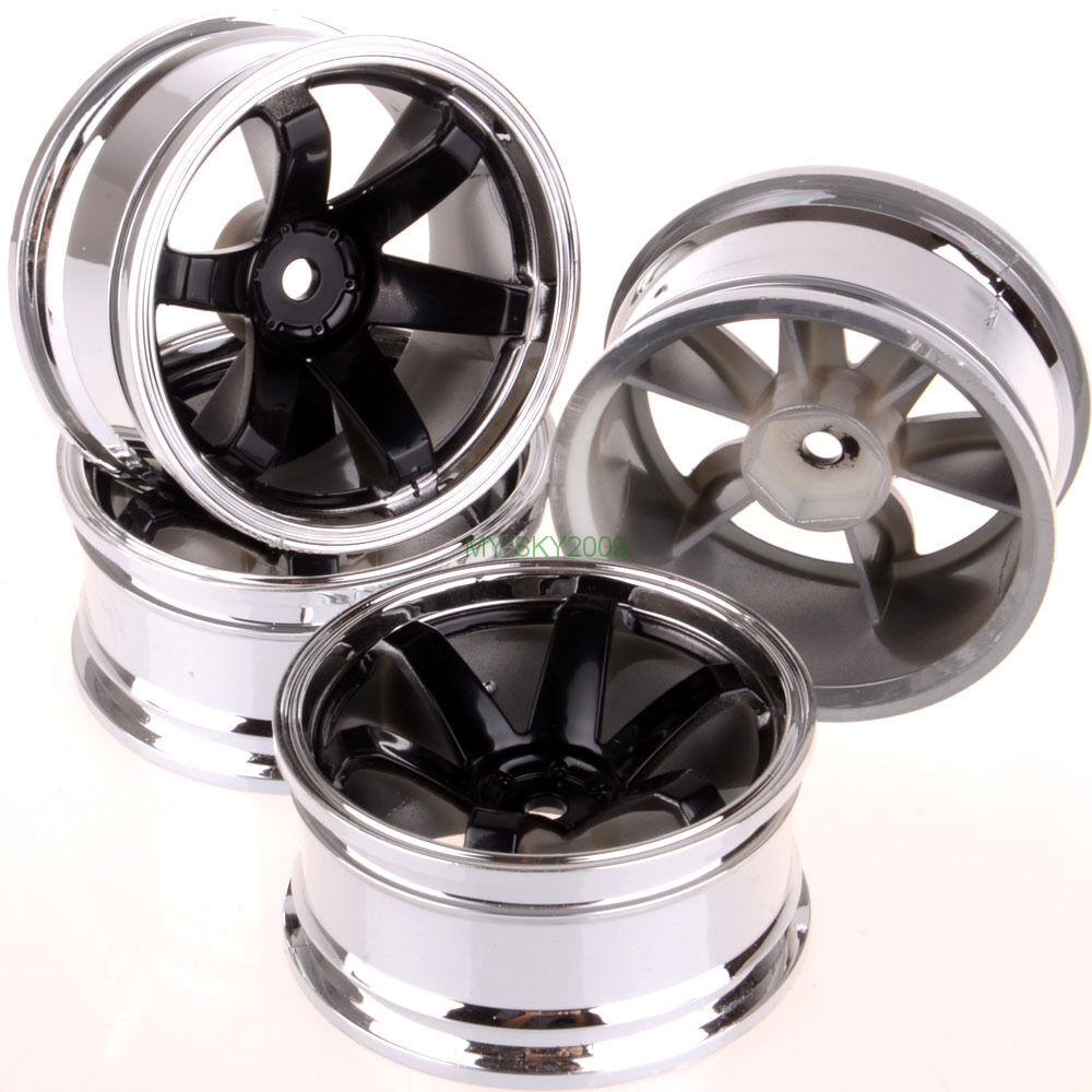 NEW 1/10 RC Model car wheel rims Plating BLACK Offset 6mm ...