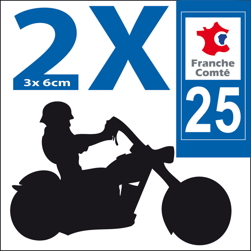 2 stickers autocollants style plaque immatriculation moto d partement 25 ebay