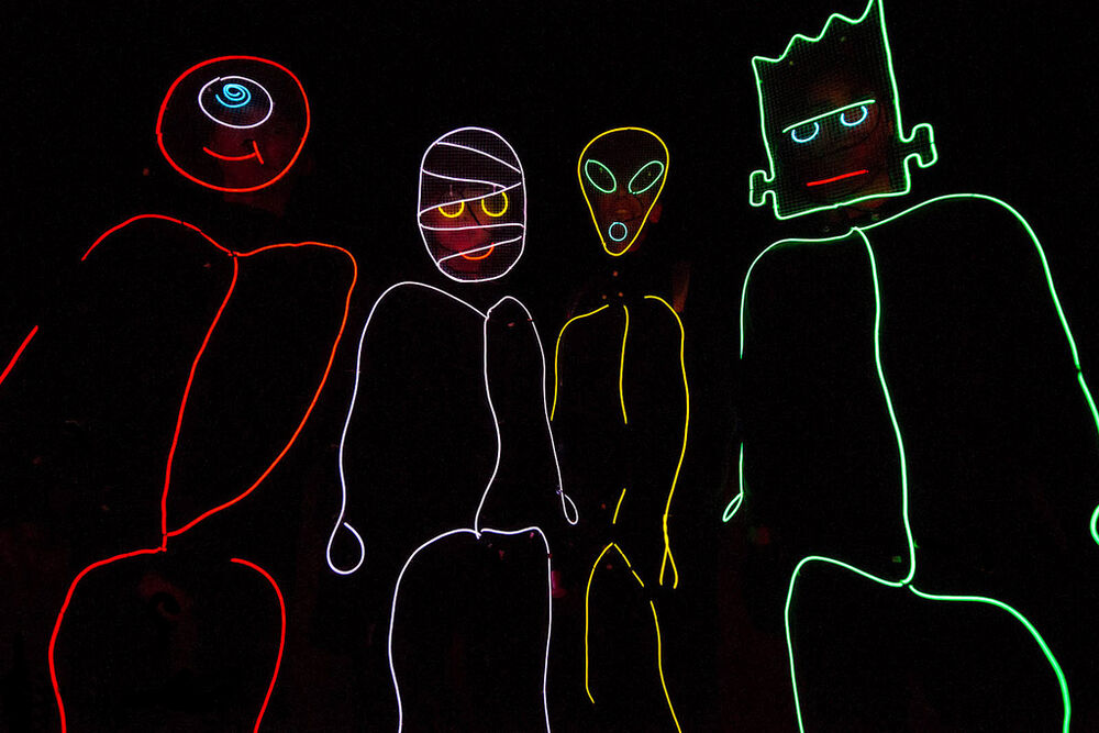 Stick Figure Costume EL Wire Kit TRON Burning Halloween Neon Glow ...