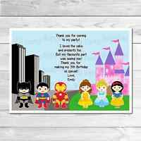 Personalised Princess and Superhero Thank You Cards Includes Envelopes Thank You