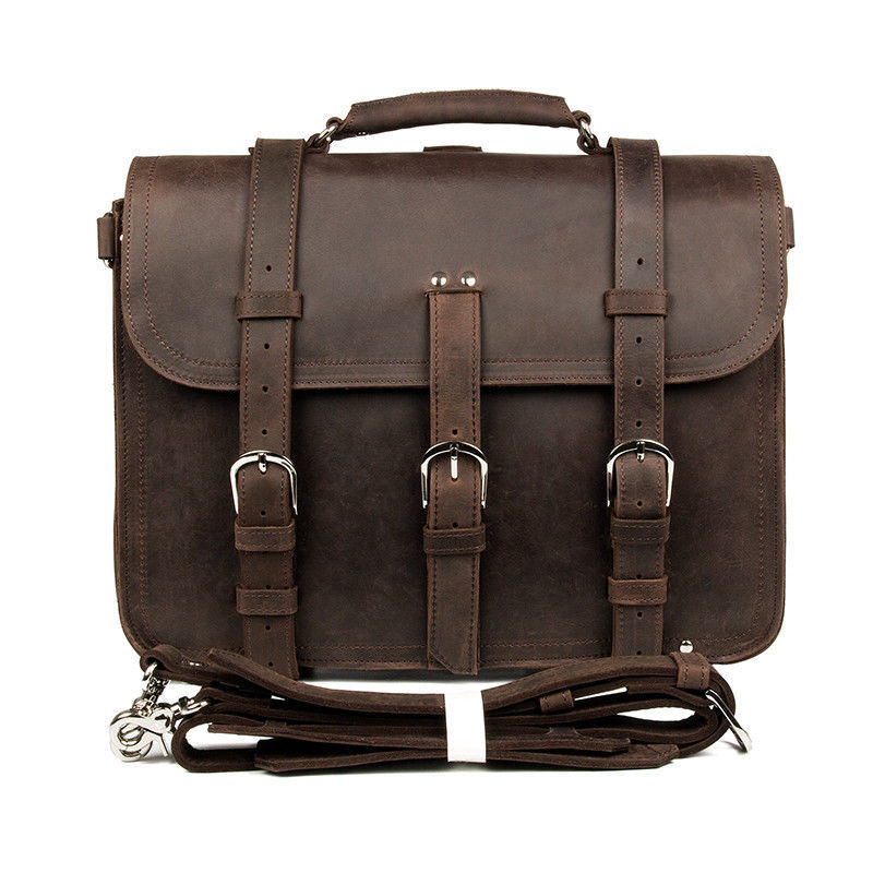 Jmd crazy horse leather men s business laptop tote bag briefcase