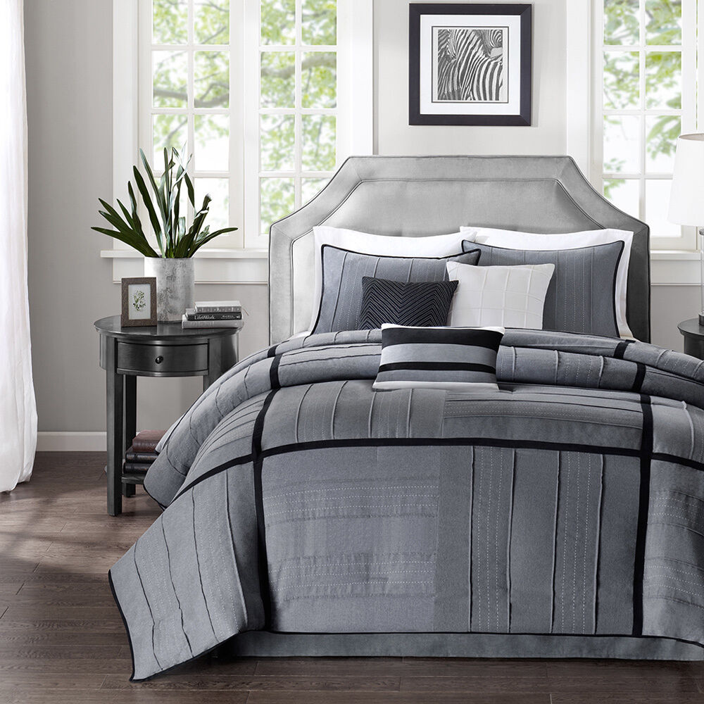 beautiful modern contemporary chic grey black white stripe texture comforter set ebay. Black Bedroom Furniture Sets. Home Design Ideas