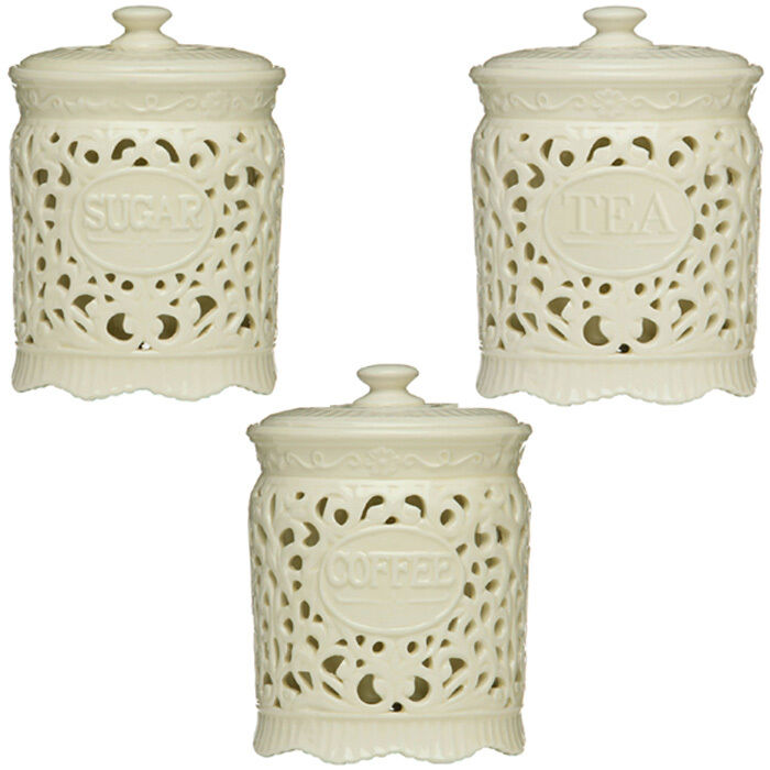 Tea coffee sugar cream ceramic lace canister jar great for - Coffee tea and sugar canisters ...